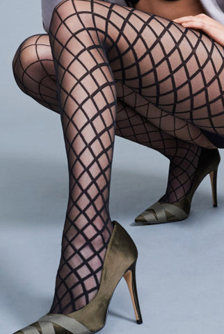 Oroblu Audrine Fishnet Diamond Patterned Tights