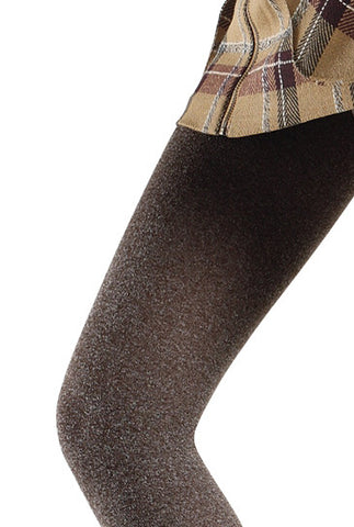Close up upper leg wearing Franzoni melange taupe footless tights.