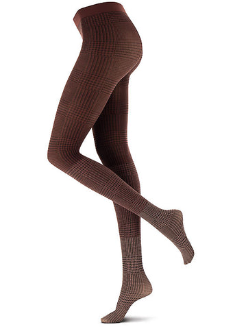 Side view of lady's legs wearing brown tartan effect tights.