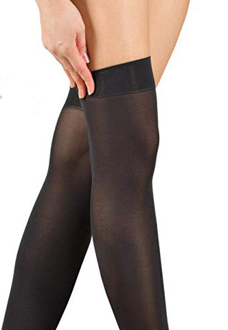Close up of thigh band on over the knee black opaque socks.