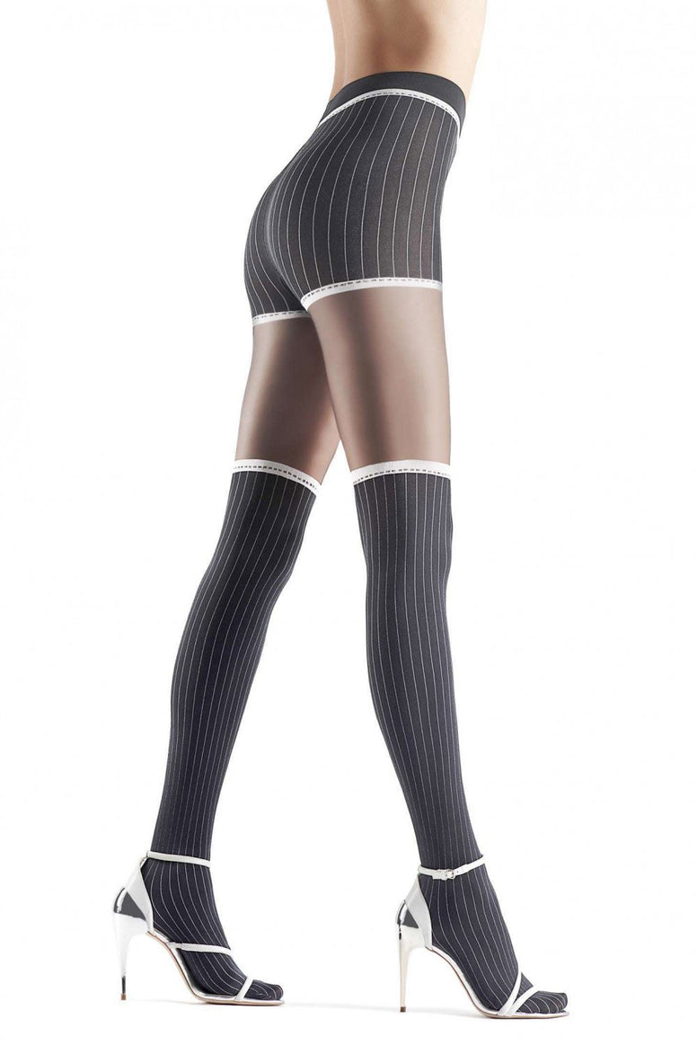 Side view of lady's legs in striding position wearing pinstripe faux thigh highs by Oroblu.