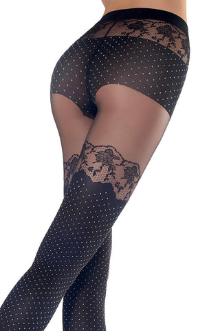 Close up of back view of lady's buttocks and upper thighs wearing faux hold ups with a polka dot pattern rose lace trim on thigh and panty brief.