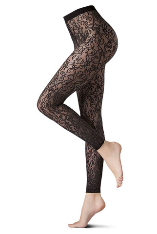 Side view of lady's legs wearing black lace footless tights.