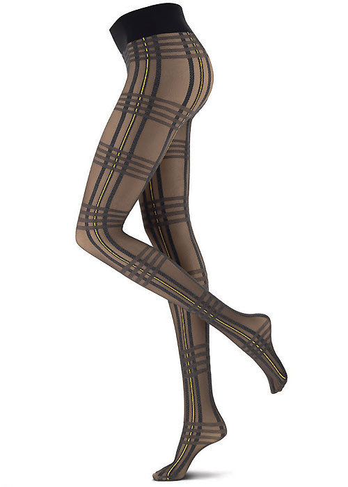 Side view of lady's legs wearing sheer tartan tights.