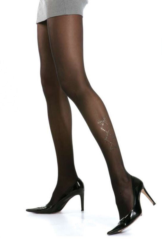 Franzoni Lace Ups Strass Semi Opaque Tights