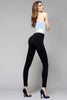 Side view of lady wearing Oroblu black push up shaper leggings and black heels.