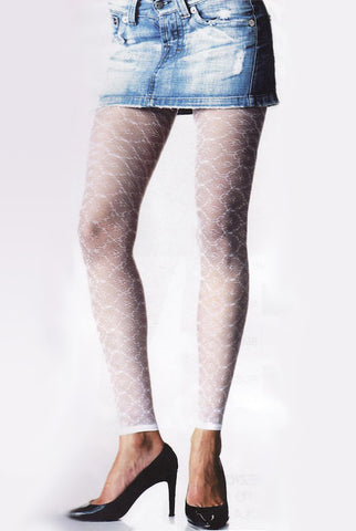 Front view, lady's legs in white lace footless tights, short denim skirt.