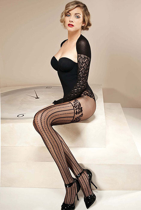 Lady sitting, wearing black lace bodysuit and Oroblu black Sonia sheer tights.