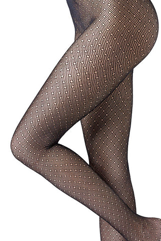 Close up of thin net fishnet tights.