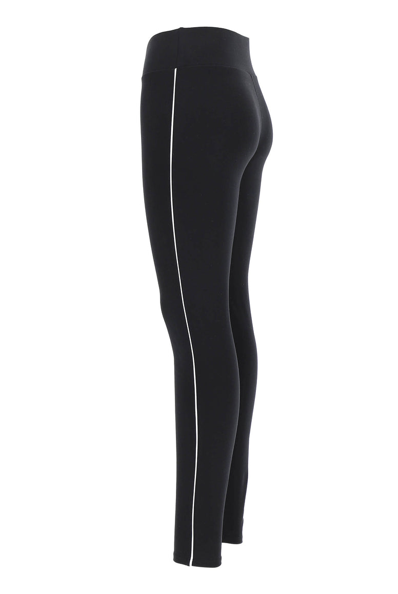 Side view of lady's black leggings with white stripe down the side.
