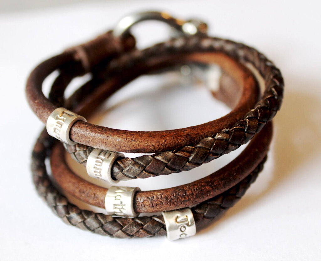 Antique Brown Braided Wrap Bracelet