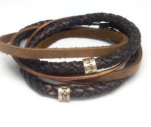 Mens Personalised Antique Brown Wrap Bracelet