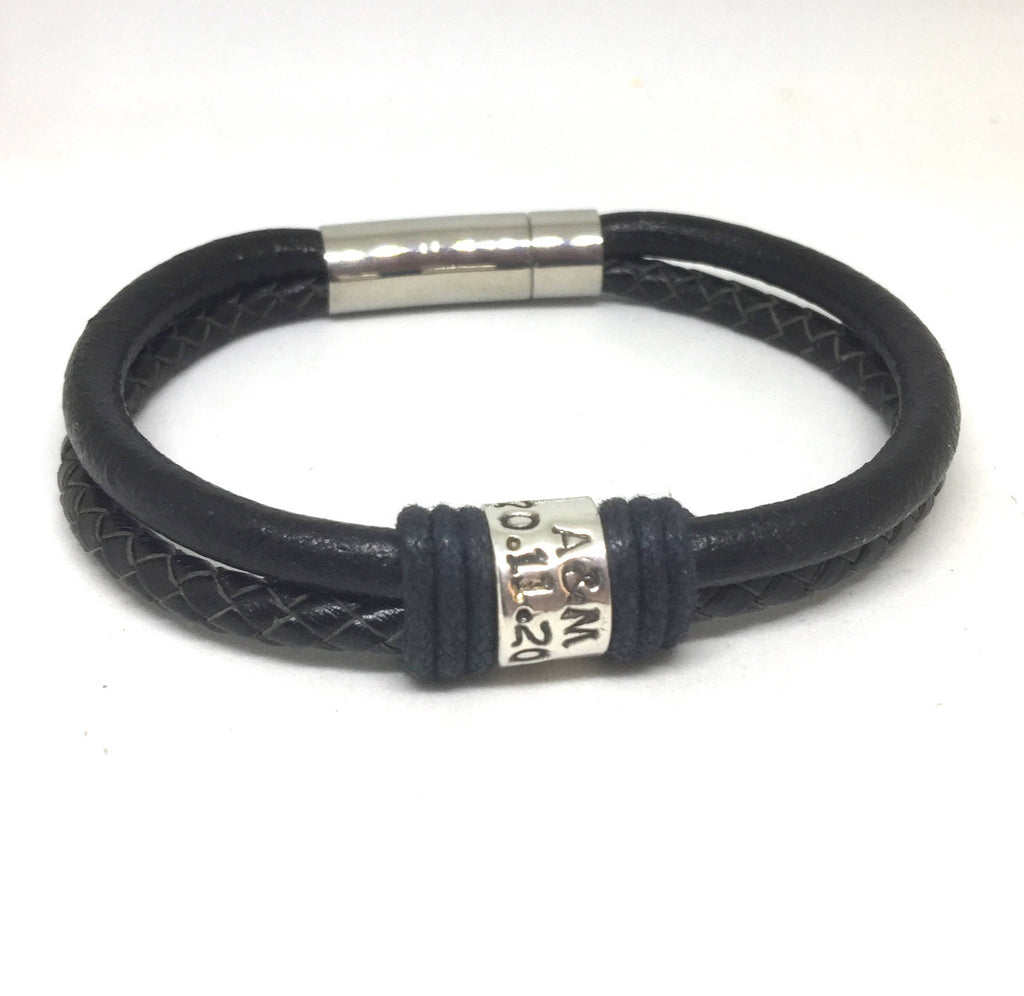 Black, Braided and Personalised Bracelet