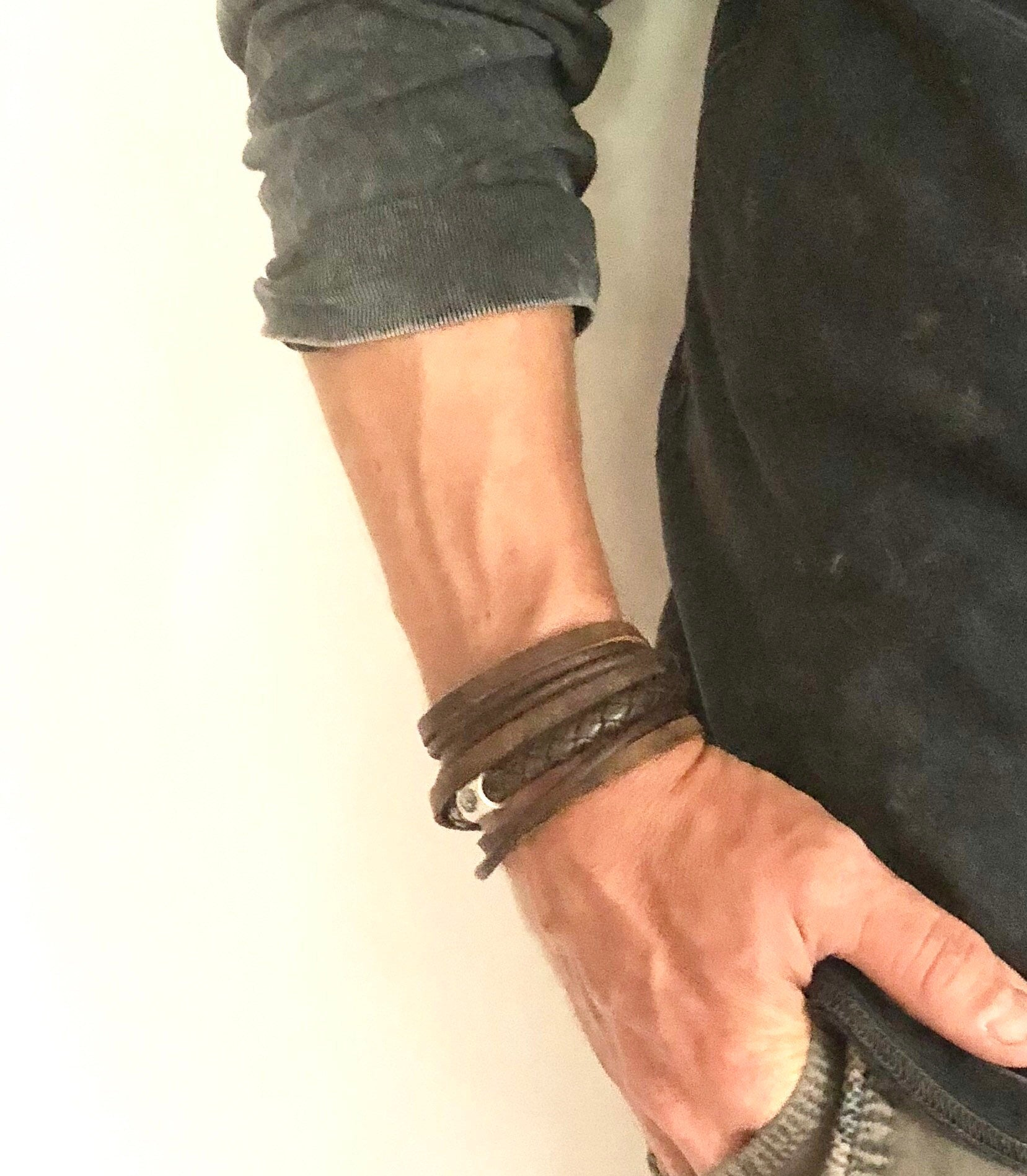 Leather Wrap Bracelets, Mens Leather Bracelets, Gift for Him, Fathers Day Gift, Leather bracelet