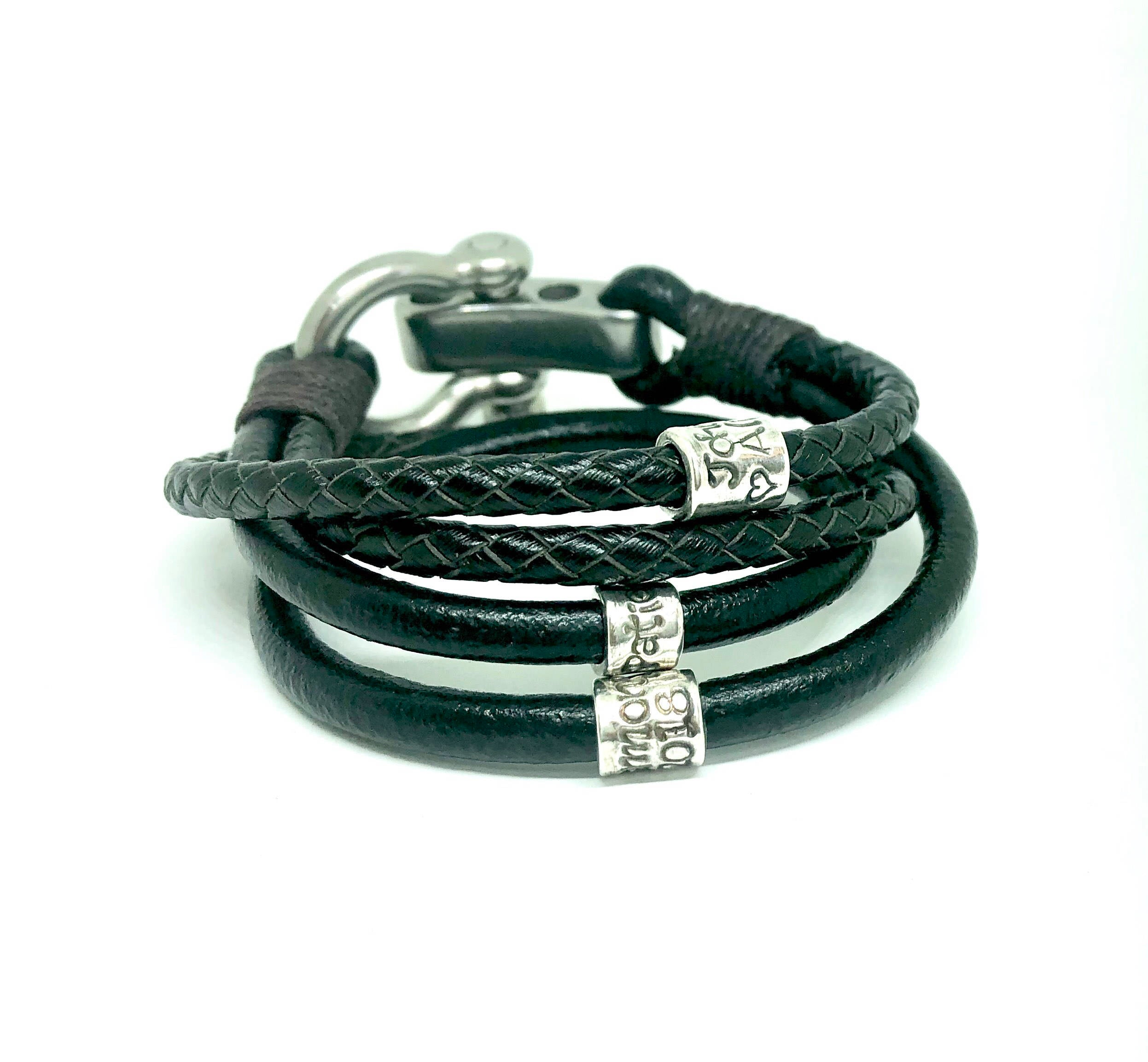 Black 4 Cord Wrap with Shackle Clasp