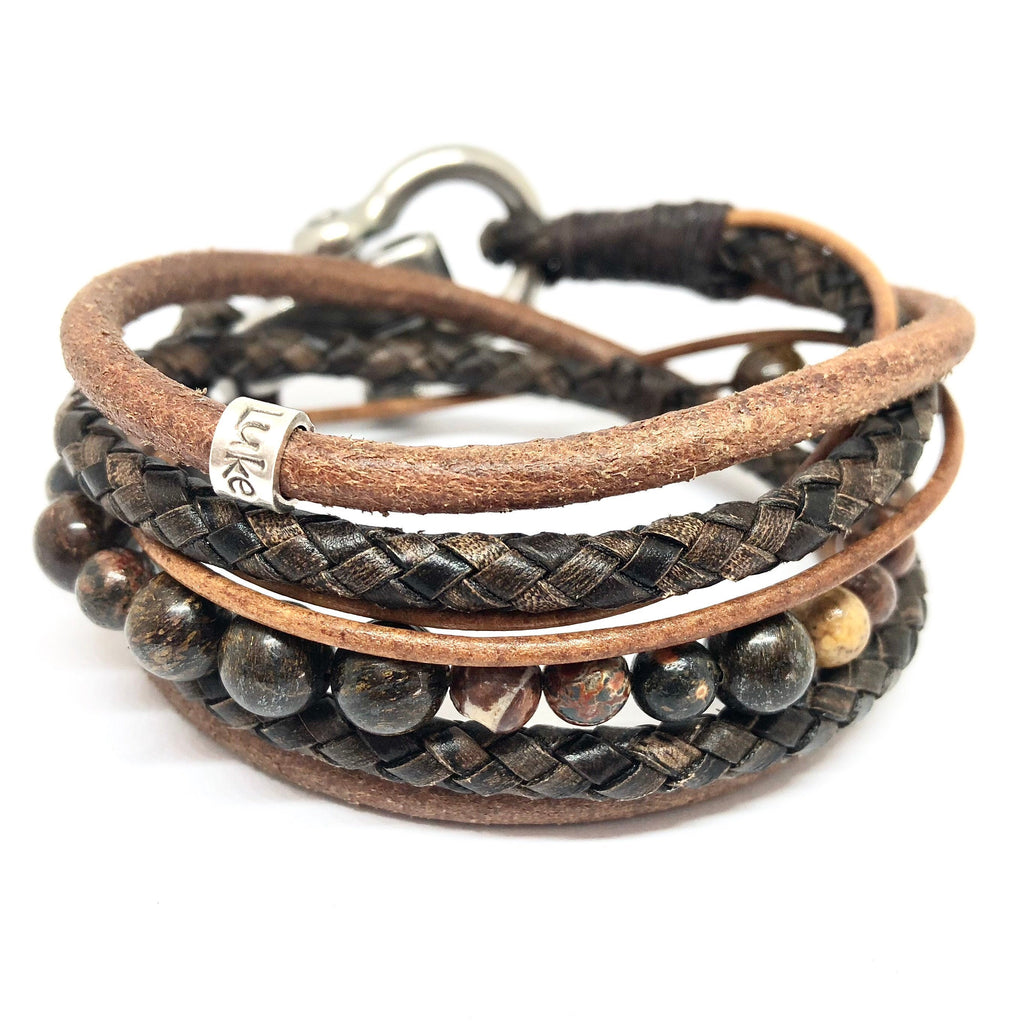 Mens Bracelet, Jasper Bracelet, Mens Leather Wrap, Mens Jewellery, Beaded Bracelet, Wrap Bracelet, Men Beaded Bracelet, Mens gift, Gemstone