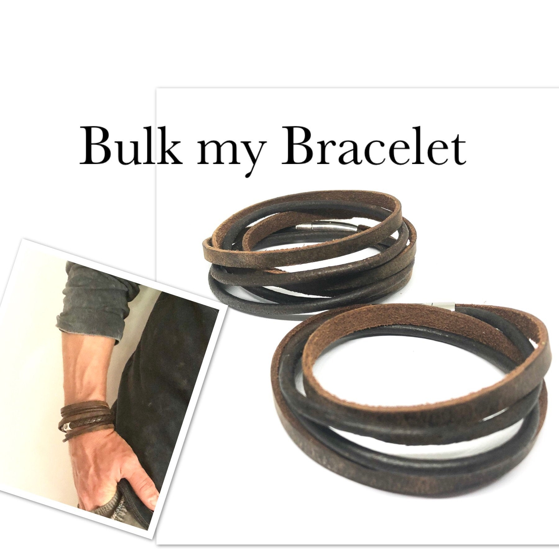 Mens Personalised Leather Bracelet, Double 6mm Braided Leather Bracelet and Personalised Silver Name Bead Bracelet . Mens leather bracelet