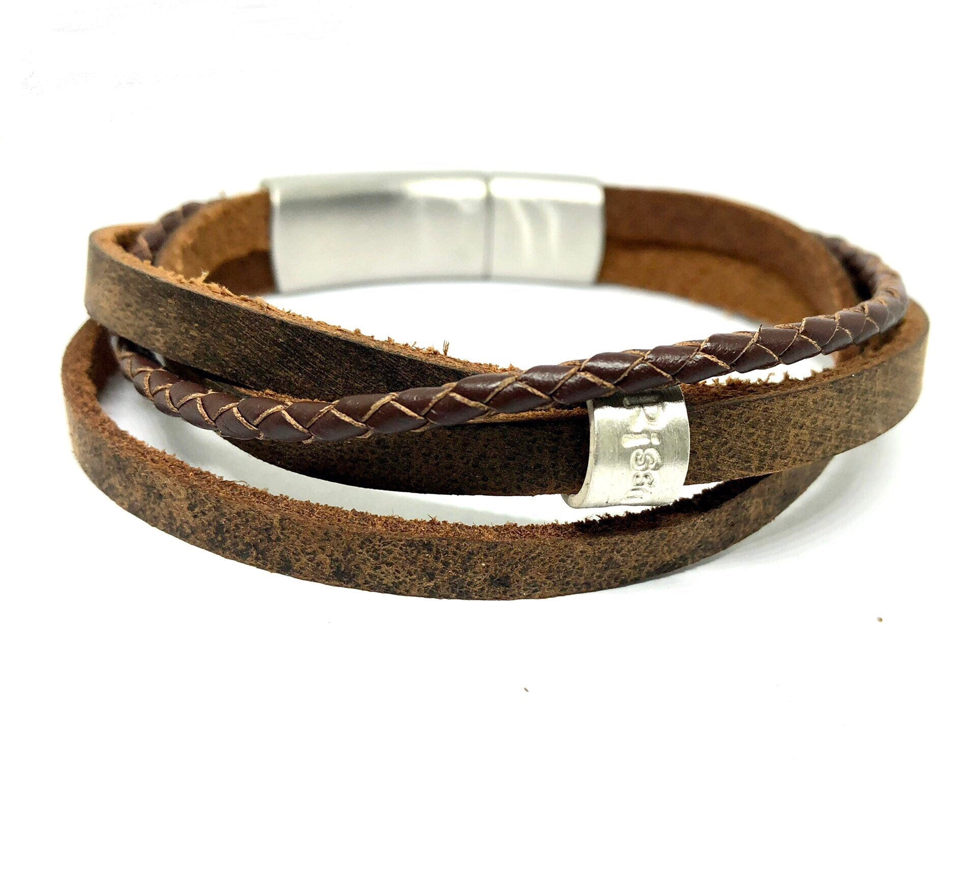 Mens Wrap Bracelet Leather Wrap Bracelet Mens bracelet Boho Bracelet Gift For Men Fathers day Gift Personalised leather Bracelet