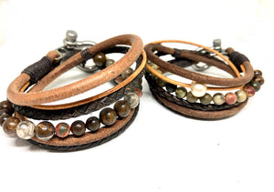 Womens  Boho Bracelet, Couples Bracelets,  Leather Gemstone Wrap, Gift for Her, Valentines Gift