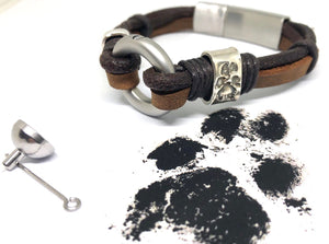 Ashes Holder, Dog Paw Bracelet, Pet Loss Gifts, Pet Memorial, Cremation Bracelet