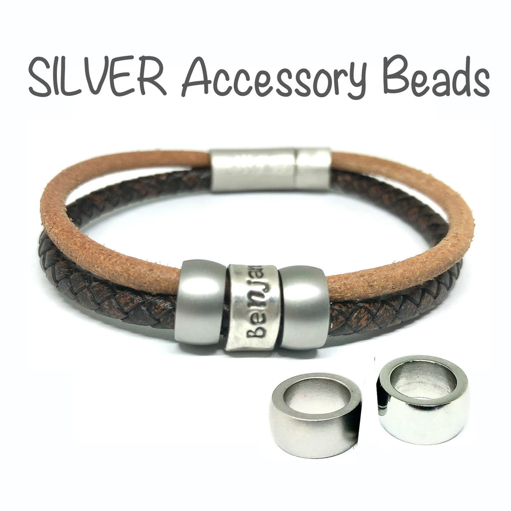 ADD-ON Silver Accessory Beads for Mens Leather Bracelet, Cremation Jewelry for Men and Women, Mens Bracelet Personalized, Wrap Bracelet