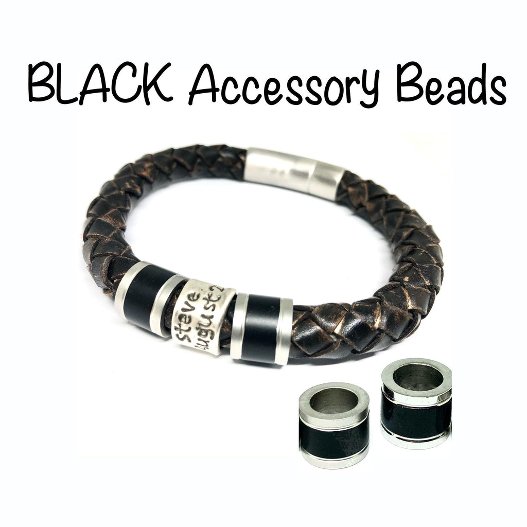 ADD-ON Black Accessory Beads for Cremation Jewelry for Men and Women, Mens Bracelet Personalized, Mens Leather Bracelet, Wrap Bracelet