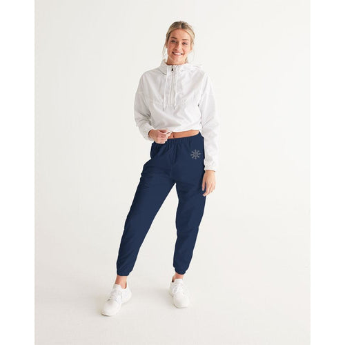 Women's navy blue track pants with logo