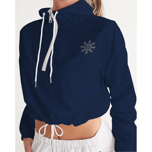 women's navy blue logo windbreaker
