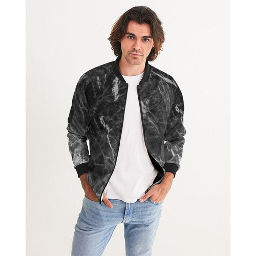 Men's Black Marble Bomber Jacket