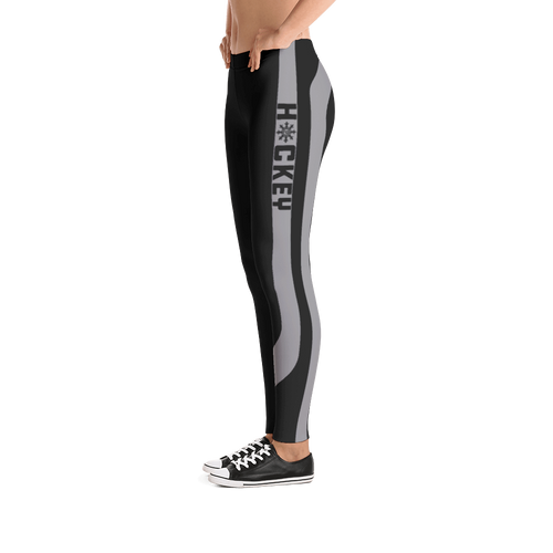 Ladies Hockey Leggings Gray Stick Accent