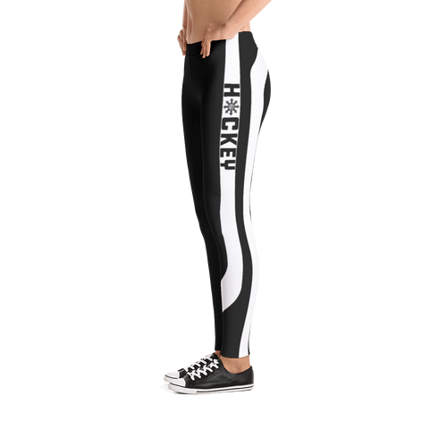 Ladies Hockey Leggings White Stick Accent