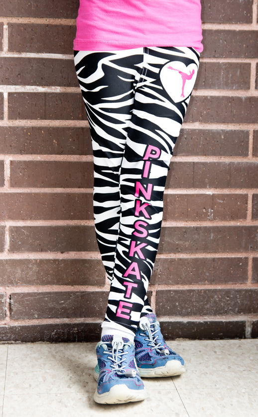 4ef1adcf4e5c4 Girl's Zebra Leggings With Pink Accent – Pinkskate