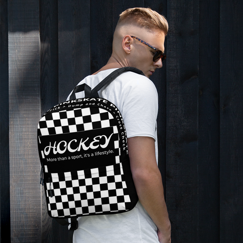 Checkerboard Hockey Black & White Backpack