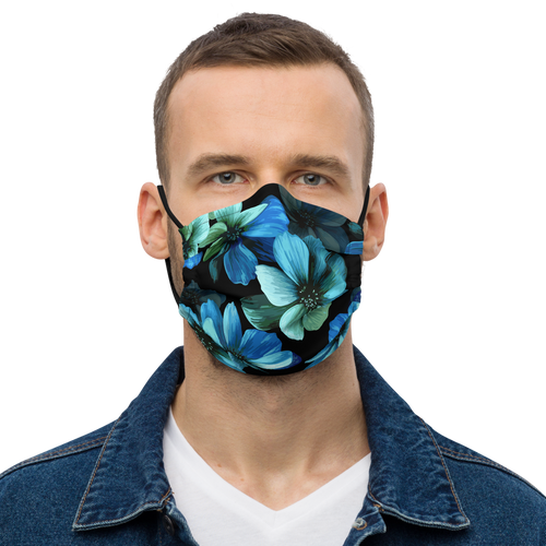 Electric Blue Floral Face Mask