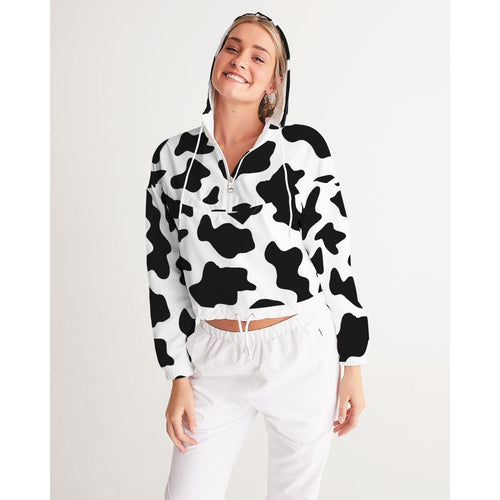 Women's Cow pattern  crop jacket