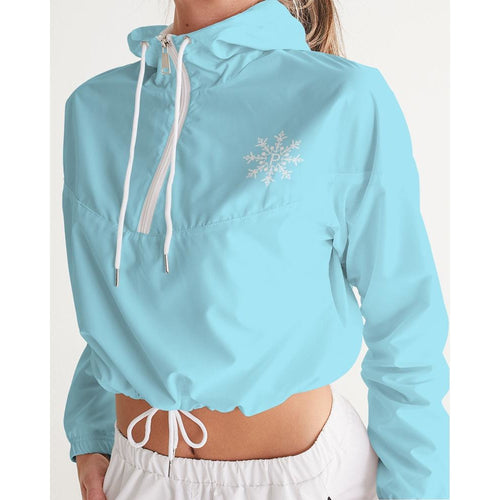 Powder Blue Women's Cropped Windbreaker