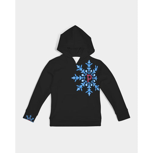 kids hoodie featuring the pinskate snowflake logo