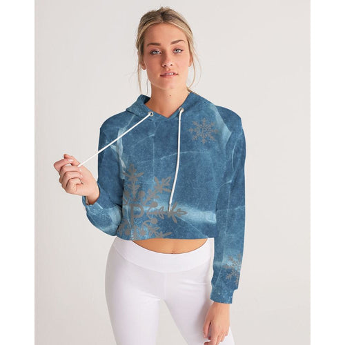 Cracks in the ice women's cropped hoodie