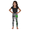 Zebra Print Leggings With Green Accent