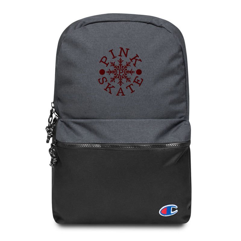 Maroon Logo Embroidered Backpack