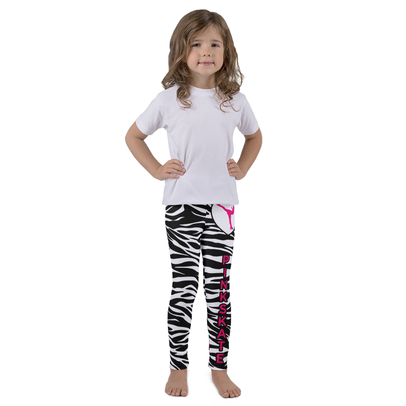 Girl's Zebra Leggings With Pink Accent