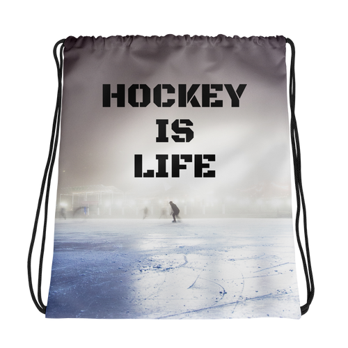 Hockey Is Life Drawstring bag