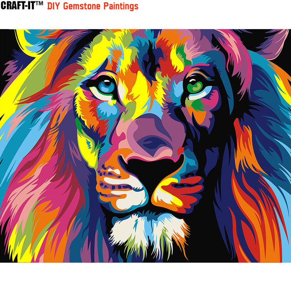 """Lion Rainbow"" - Craft-IT™ DIY Gemstone Paintings - Deal-Rush"