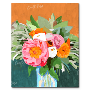 """Peonies on Orange"" Paint By Numbers Craft-Ease™ - Exclusive Series (50 x 40 cm)"
