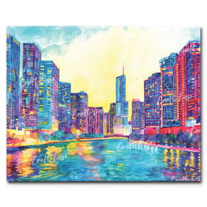 """Chicago River"" Paint By Numbers Craft-Ease™ - Exclusive Series (40 x 50 cm) - Craft-Ease"