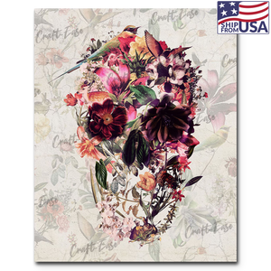 """Flowering Skull"" Paint By Numbers Craft-Ease™ - Exclusive Series (50 x 40 cm)"