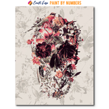 """Flowering Skull"" Paint By Numbers Craft-Ease™ - Exclusive Series (50 x 40 cm) - Craft-Ease"