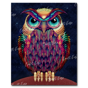 """Neon Owl"" Paint By Numbers Craft-Ease™ - Exclusive Series (50 x 40 cm)"