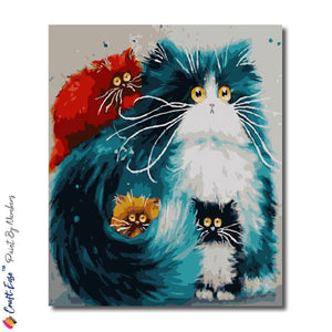 """Majestic Cats United"" - Craft-Ease™ Paint By Numbers  (50 x 40 cm)"