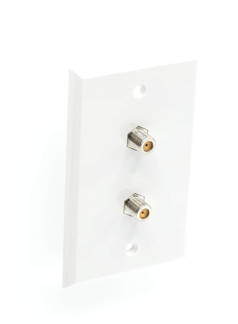 Wall Plate – White | F-Type Dual Port Coax Connector Set 3GHz – 4 Pack